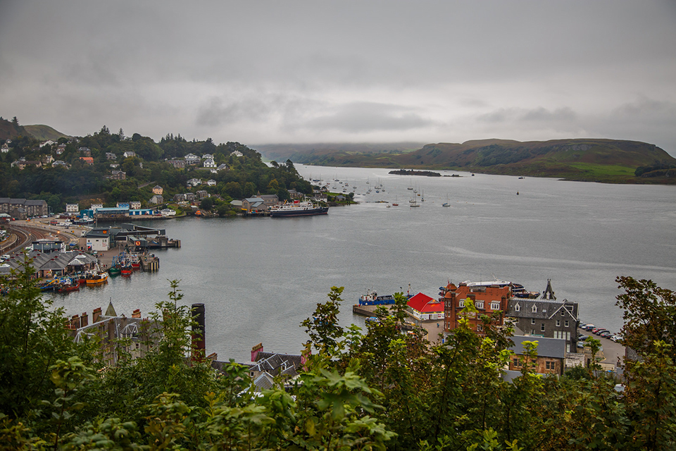 The city of Oban, with Kerrera in the distance