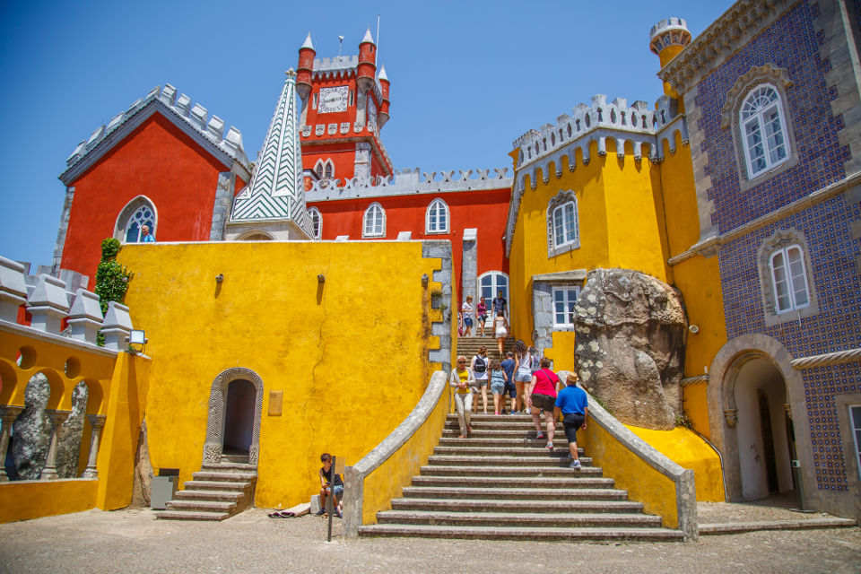 Here's another picture with the Pena Palace to sweeten up the disappointing city center paragraph