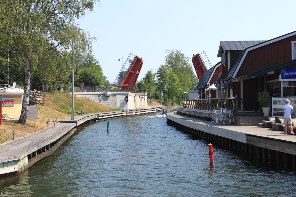 The Strömma Canal bridge as it lifted to allow our boat's passage.