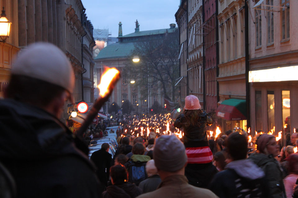 Valborg celebration in Gamla Stan (the Old Town).