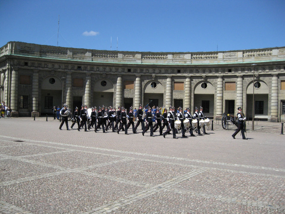 The changing of the guards at the Royal Palace.
